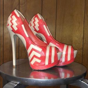 Tan and orange open toe heels
